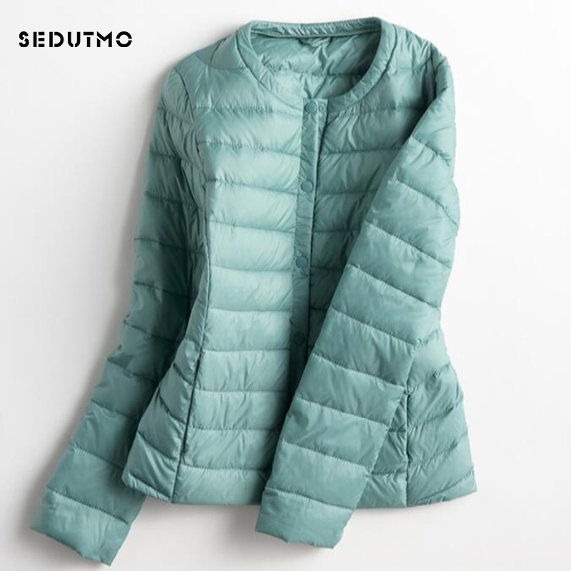 SEDUTMO 2018 Spring Ultra Light Duck   Down   Jackets Women Plus Size 3XL   Down     Coat   Short Black Autumn Long Sleeve Jacket ED149
