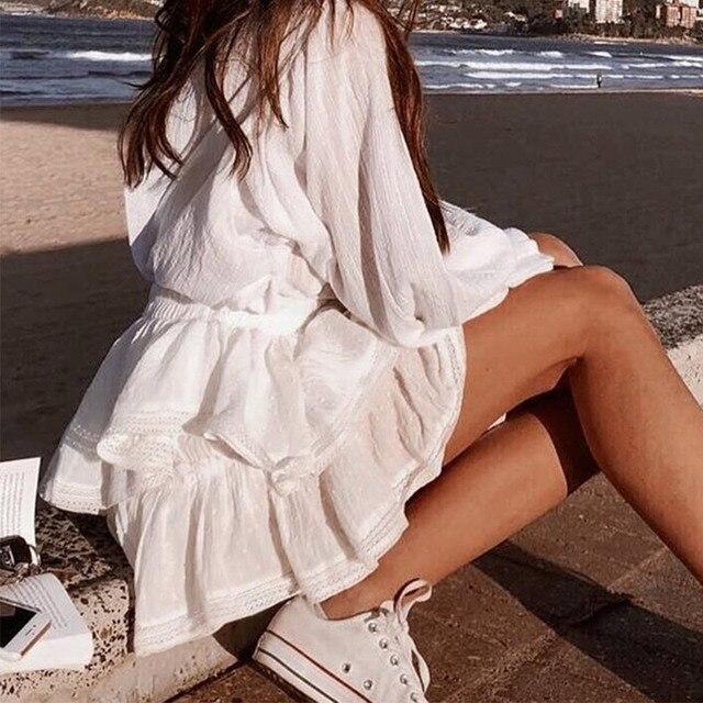 Women's High Waist A-Line Mini Skirt Summer Women Elegant White Skirts 2021 Summer Casual Lace Splice Short Holiday Short Skirt 3