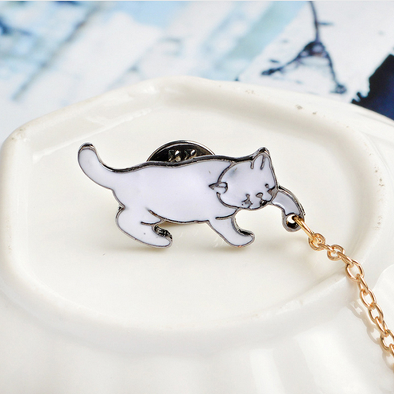 Home & Garden Arts,crafts & Sewing 1 Pcs Cartoon Cute White Cat Metal Brooch Button Pins Denim Jacket Pin Jewelry Decoration Badge For Clothes Lapel Pins