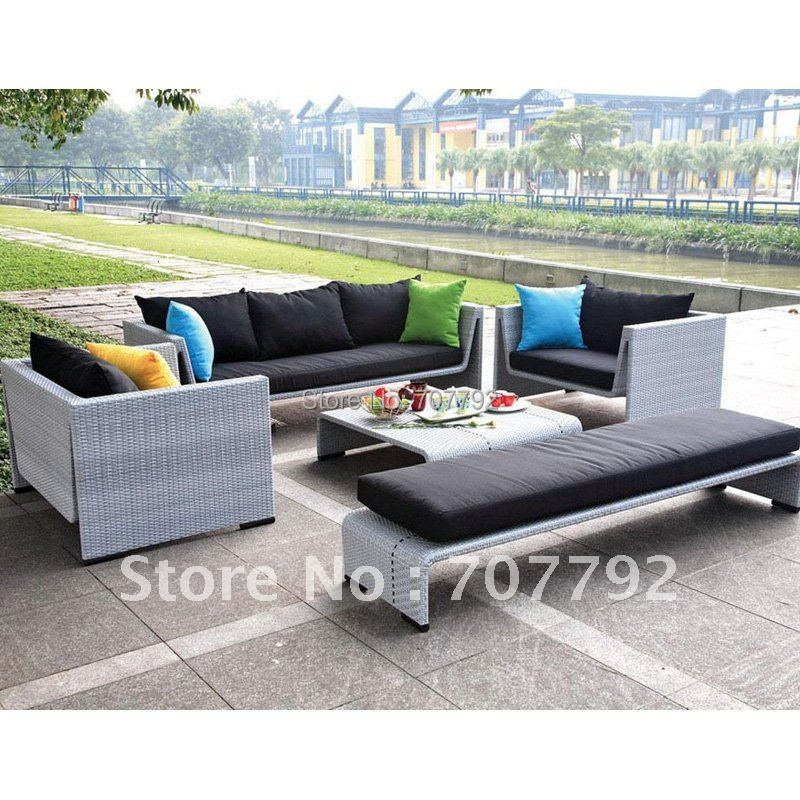 New Design Synthetic Rattan Modern Gray Sofa SetChina