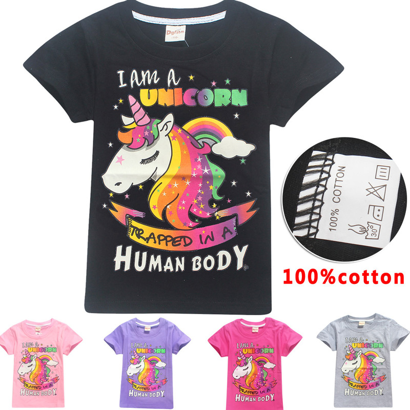 I Am A Unicorn Trapped In A Human Body Kids Girls T-Shirt 2018 Children Cartoon T shirts for Girls Unicorn Summer Girl Tops Tees hayes t i am pilgrim