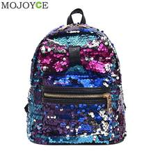 Glitter Sequins Backpack Women s Fashion Big Bow PU Leather Travel Bag  Girl s Shining Shiny School Book 255849bb9b7a3