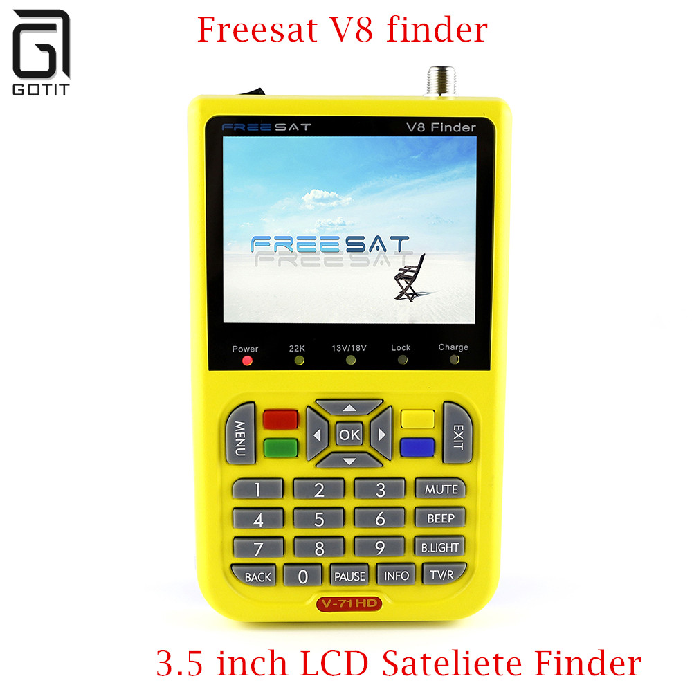 FREESAT V8 Finder Satellite signal Finder V-71 HD DVB-S2 MPEG-2/MPEG-4 FTA Digital Satellite meter 3.5 inch LCD Display satlink 1pc original satlink ws 6933 ws6933 dvb s2 fta c ku band digital satellite finder meter free shipping