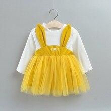 Toddler Solid Mesh Yarn Dress Baby Girl Princess Dress Fake 2 Piece Long Sleeve Clothing