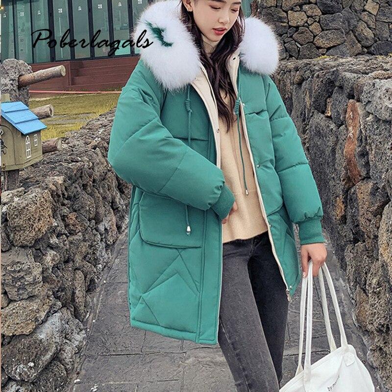 Korean Winter jacket parkas 2019 Autumn women down cotton padded jackets coat fashion women students big fur hooded coats