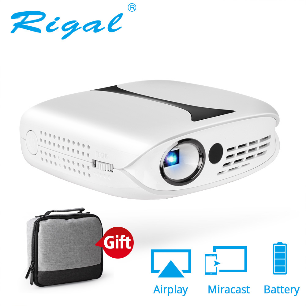 Rigal RD606 Mini LED DLP Projector Optional HD WiFi Android 7 1 Pocket Pico Projector Battery