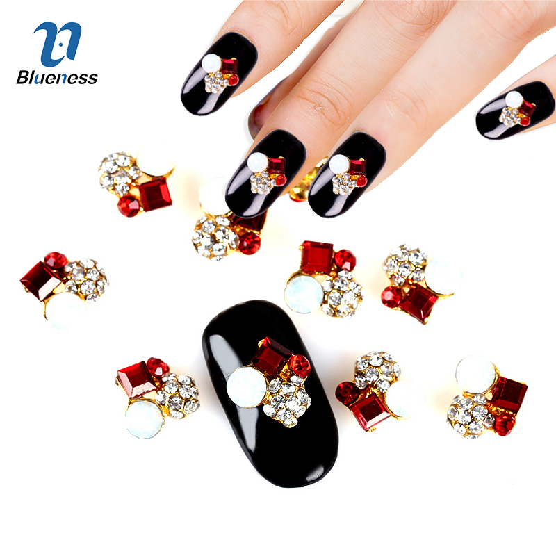 Blueness 10Pcs/Pack 2015 New 3D Nail Art Decorations Red Golden Clear DIY Glitter Rhinestones For Alloy Nails Tools TN374 50 pcs set 3d nail art decorations glitters diy nail tools full rhinestones silver crown crystal nails studs1