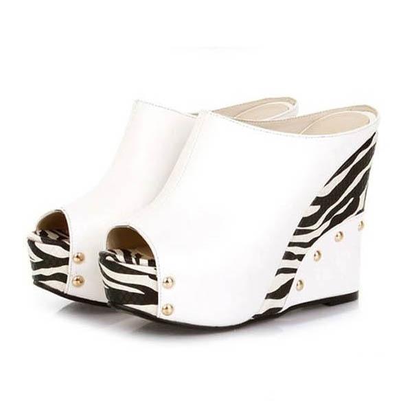 Лидер продаж женские босоножки на платформе-танкетке с открытым носком стильный принт зебры женские шлёпанцы на высоком каблуке женские повседневные шлепанцы без задника с открытыми пальцами туфли сезон лето - Цвет: white