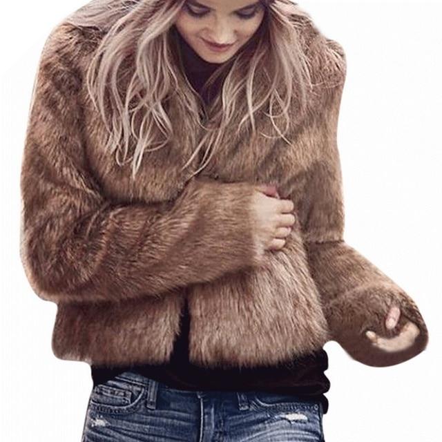 58c236cc560d 3 Colors 6 Sizes Women Winter Faux Fur Coats Jackets Brown Black White Fur  Coat Jackets