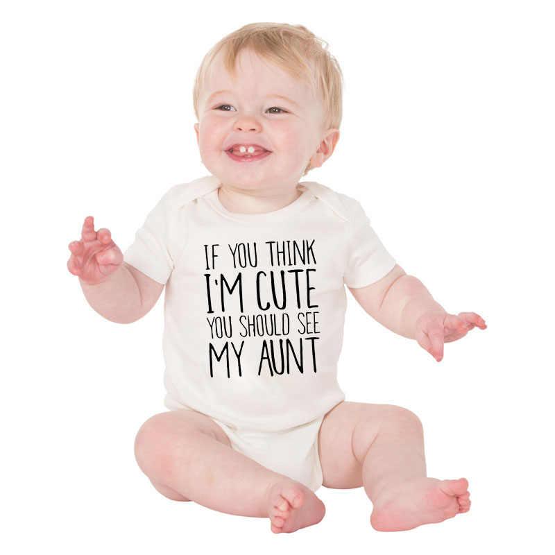 DERMSPE noworodka chłopiec z krótkim rękawem dla dziewczyny list, jeśli myślą, że jestem śliczne powinieneś zobaczyć moja ciotka Romper stroje dla dzieci ubrania