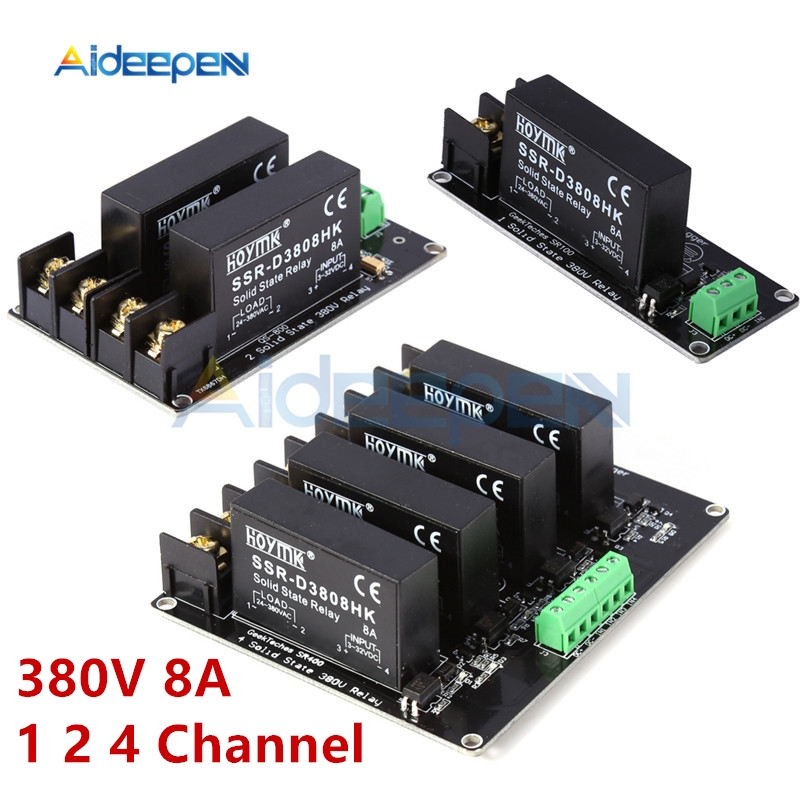 380V 8A 1 2 4 Channel SSR Board Solid State Relay Module High Low Level H-L Trigger Board D3808 Switch Controller For Arduino