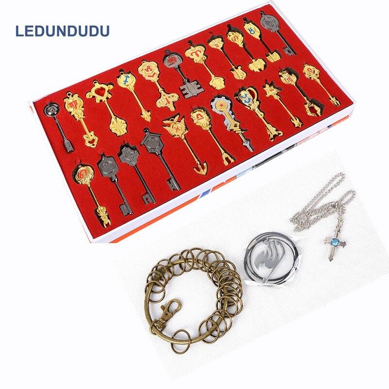 Fairy Tail Keychain Accessori Cosplay set Arma Collezione Lucy Segno dello Zodiaco Gold Key Collana Pendenti con gemme e perle per il Regalo