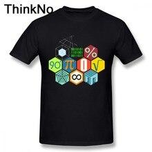 Футболка с математическим принтом для мальчиков, Повседневная футболка из 100% хлопка, модная красивая футболка большого размера с коротким ...
