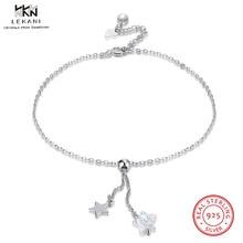 LEKANI Кристаллы из браслет swarovski 925 стерлингового серебра Звездный ножной браслет женский бутик простой ножной браслет Joyeria Fina подарки
