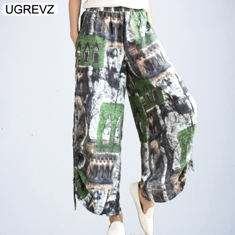 UGREVZ Vintage Women Elastic Waist Printed Linen Harem Trousers Spring Loose Long Cotton Linen Spring and Summer   Wide     Leg     Pants