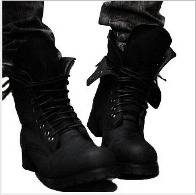 Caliente botas de Combate Retros Invierno-estilo de Inglaterra hombres de moda short Negro zapatos botas militares-Envío libre