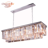 Modern K9 Crystal Chandelier Lighting Luxury Rectangular Chandelier Hanging Light for Living Dining Room Restaurant Hotel Decor