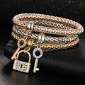 Key&Lock Pendant Bracelet Gold Plated Boho Jewlery 3pcs/Lot Crystal Indian Bangle Bracelets For Women Lover's Gift