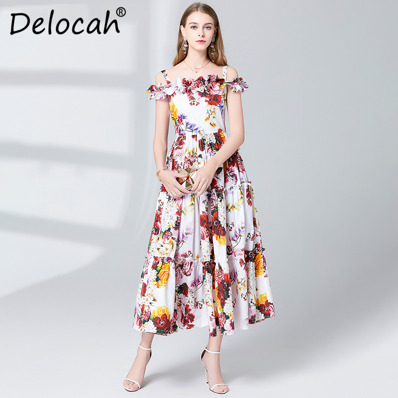 Delocah Spring Summer Women Dress Runway Fashion Designer Sexy Spaghetti Gorgeous Draped Flower Printed Slim A