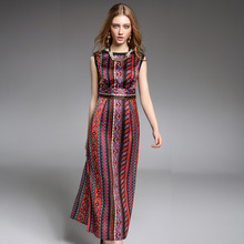 summer women's national printed chiffon dress  tall waist restoring ancient ways of cultivat