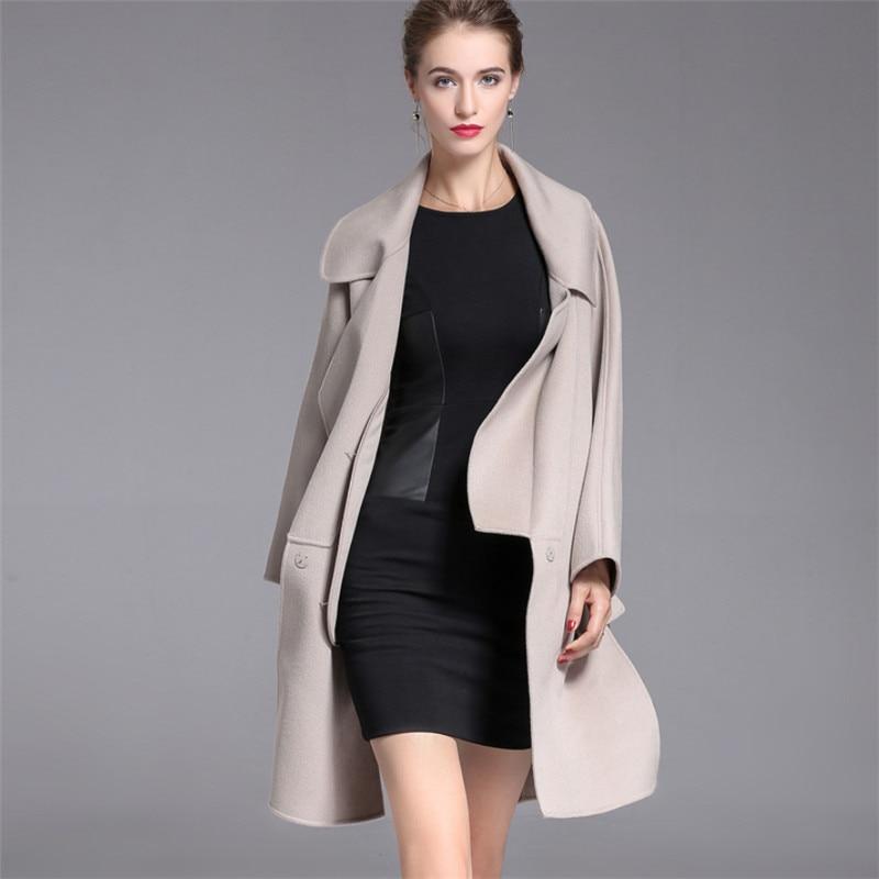 Толстые теплые Double Side кашемир Для женщин шерстяные пальто 2018 высокое качество осень-зима Европейский Стиль длинные Шерстяное пальто V1020