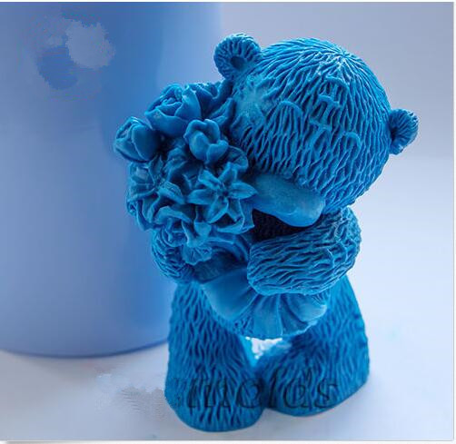 Teddy with Flowers 3d silicone mold for soap and candles making baby...