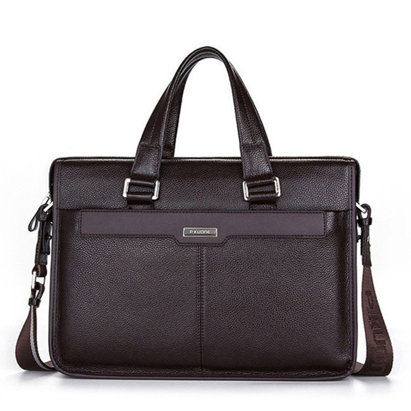 Luxury Original Brand Cowhide Men Briefcases Men 100% Genuine Leather Handbags Mens Leather Laptop Bag Real Leather Shoulder Bag