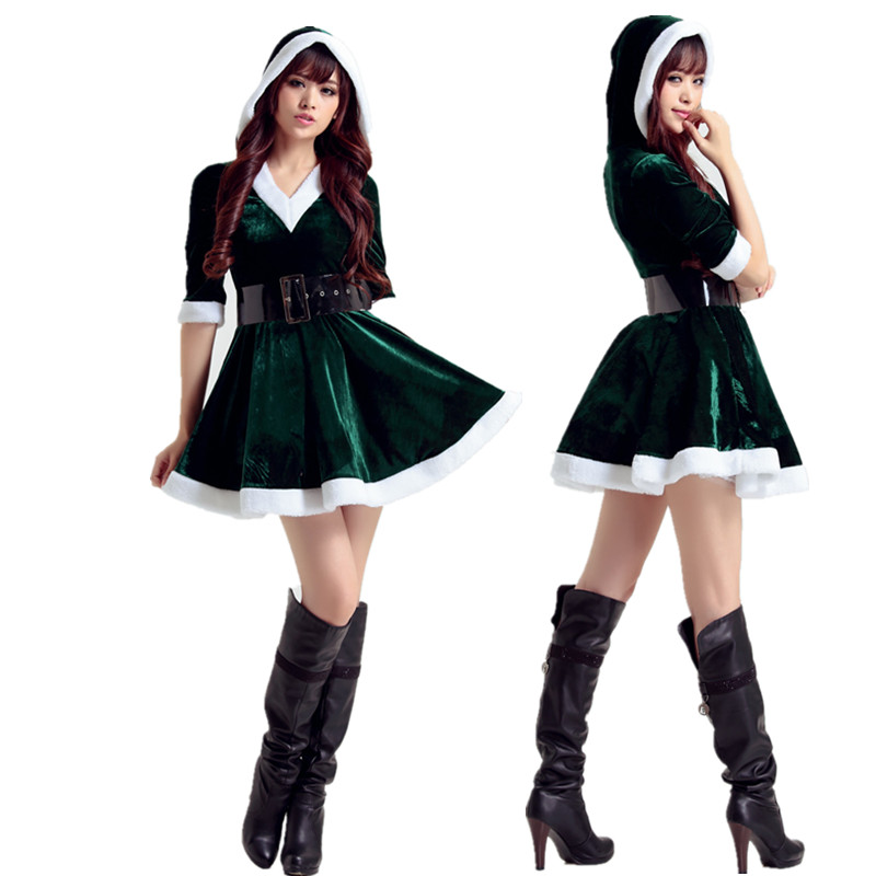 7a657fea1e2 US $10.49 25% OFF|Vocole Adult Womens Sexy Santa Claus Costume Mis Santa  Helper Christmas Party Fancy Dress Hooded Mini Dress-in Sexy Costumes from  ...