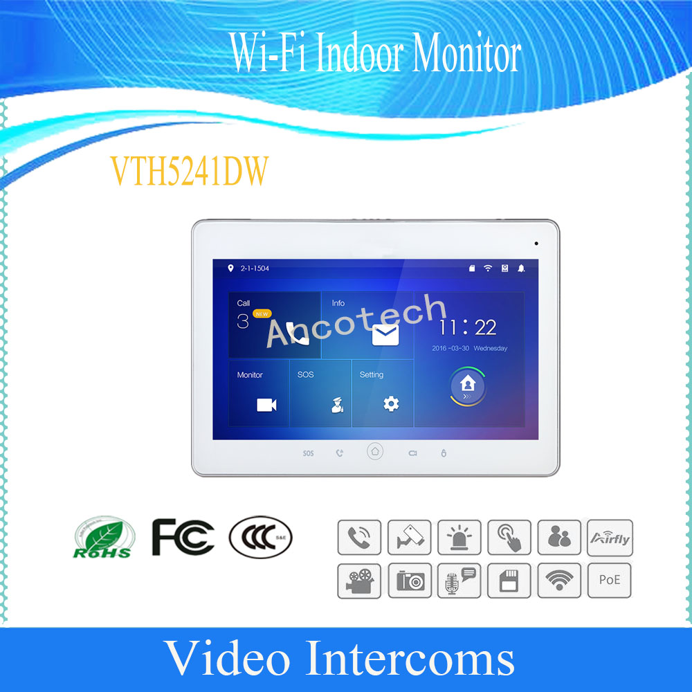 Free Shipping DAHUA Video Intercom 10inches Touch Screen Color IP Indoor Monitor Original English Version DHI-VTH5241DW