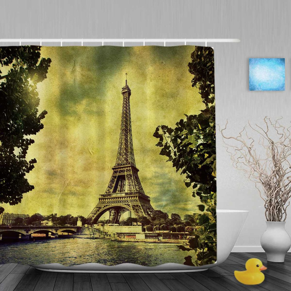 Fabric paris shower curtain - Eiffel Tower In Paris Bathroom Shower Curtain Vintage Paris City Scenery Shower Curtains Waterproof Polyester Fabric