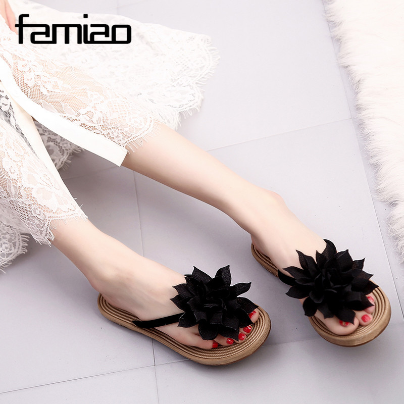 New Women Sandals Fashion Flower Summer Sandals Flip Flops 2017 Slippers Shoes slippers zapatillas summer flat shoes 2017 fashion women slippers summer shoes soft wedge sandals casual bohemia flip flops flat platform slippers pantufa zapatillas