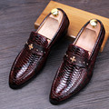 Snake Style Patent Leather Shoes Men Loafers Cross Logo Men Shoes Casual Slip On