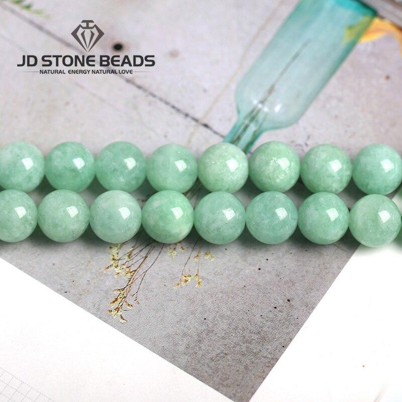 Myanmar Chalcedony  Beads Semi-Finished Handmade Bracelet Green Jade Stone Loose Beads Accessory For Jewelry Making