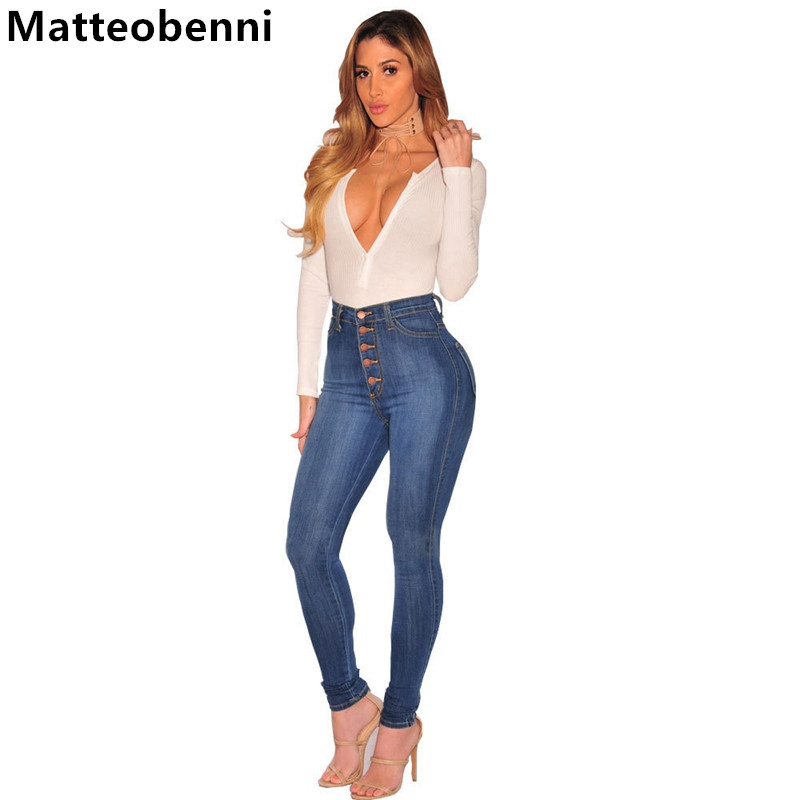 Buttons Fashion Jeans Women Pencil Pants High Waist Jeans Sexy Slim Elastic Skinny denim Pants Trousers Fit mom jeans Plus Size