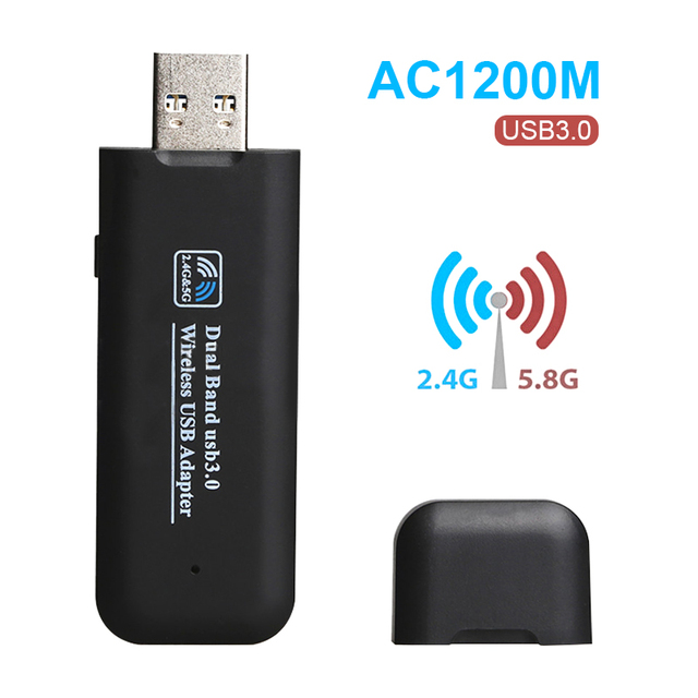 US $15 17 | Wireless WiFi Adapter AC1200Mbps USB Dual Band 2 4G&5G 802 11ac  WiFi Antenna for Windows xp/7/8/10 MAC USB Receiver RTL8812BU -in Network
