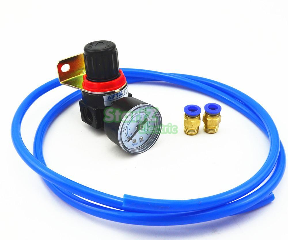 DIY Air Control Compressor Pressure Regulating Regulator Valve with 5meter PU tube 6mm Fittings compressor air control pressure gauge relief regulating regulator valve with 6mm hose fittings