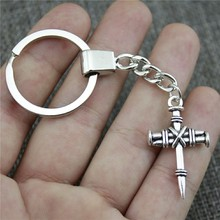 New Fashion Men Jewelry Keychain Diy Metal Holder Chain Nail Cross 34x20mm Antique Bronze Silver Pendant Gift