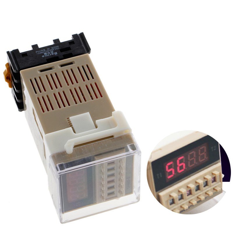 AC 220V Digital Precision Programmable Time Delay Relay DH48S-S With Socket Base 24vdc new programmable dh48s 2z time delay relay counter
