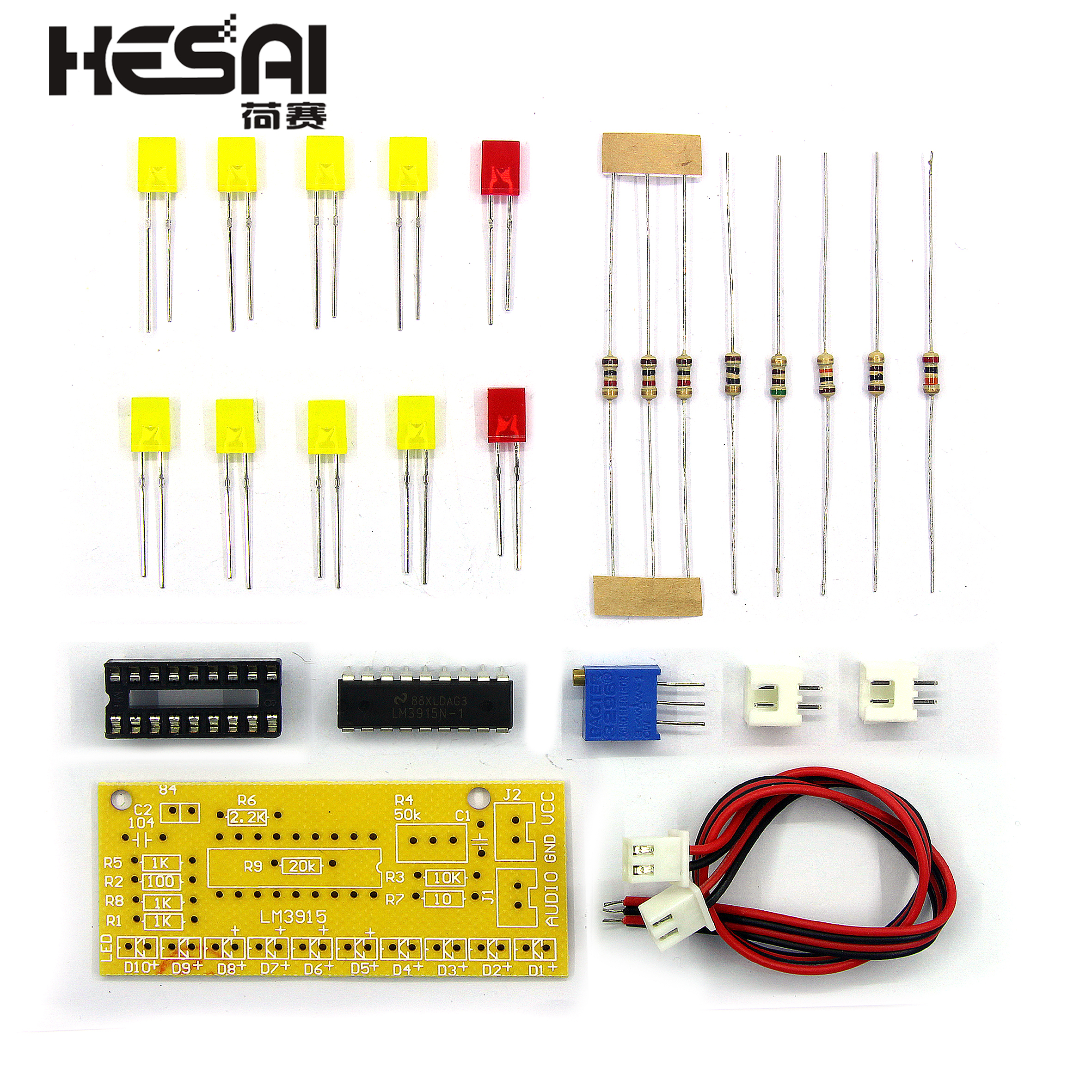 LM3915 10 LED Sound Audio Spectrum Analyzer Level Indicator Kit DIY Electoronics Soldering Practice Set