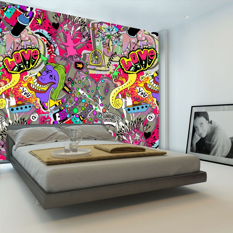graffiti boys urban art wallpaper 3d photo wallpaper custom wall mural street art room decor kid. Black Bedroom Furniture Sets. Home Design Ideas