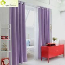Cortinas blackout físicas coreanas, para janelas, modernas, cortinas de luz roxa para sala de estar/quarto/cozinha, painéis soltos