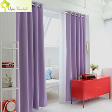 Korean Physical blackout curtains for window Modern Light Purple Curtains for Living Room Bedroom Kitchen Single