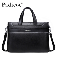 Padieoe Famous Brand Handbag Men Briefcase Genuine Leather Shoulder Bags Business Travel Tote Laptop Bag Men's Messenger Bag