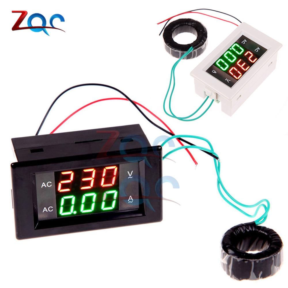 High Quality Ac Dual Display 300v 10a Voltmeter Ammeter Digital Led Combo Amperemeter Frame 0 100v 110v 220v 100a Lcd Panel Amp Volt Current Voltage Meters Black