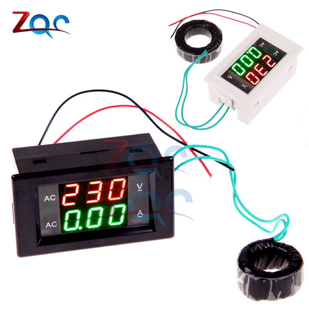 AC 300V 110V 220V 100A Digital Ammeter Voltmeter LCD Panel Amp Volt Current Voltage Meters Black White 1 pcs black ac digital ammeter voltmeter lcd panel amp volt meter 100a 300v 110v 220v brand new hot sale
