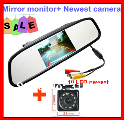 "2 IN 1 Car auto monitor parking camera system 4.3""LCD TFT Color mirror monitor 2ch av in DVD VCR +LED/IR HD camera for car safe"