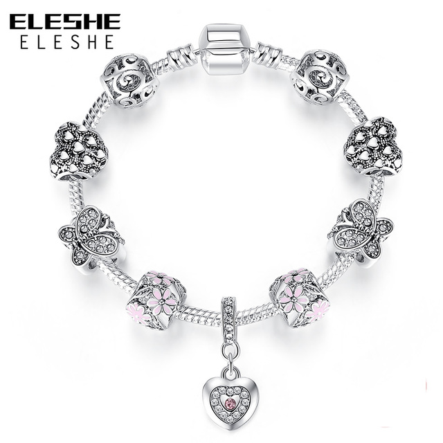 ELESHE Luxury Brand Silver Charm Bracelets Daisy Flower Butterfly Heart Crystal Beads Bracelet for Women friendship Jewelry Gift