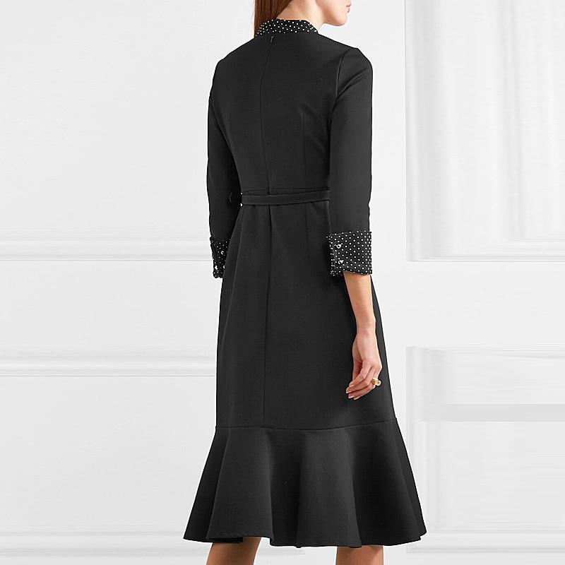 Printemps Sirène Mince Piste Dot Xf Arc Imprimer Parti Col Fashion 2019 Designer Rétro Polka D'été Noir Femmes 2 1225 Robe 26 fWfwqUS1I