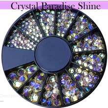 Mix Rhinestone 3D Decor Wheel Crystal Paradise Shine Nail Rhinestones Flat Bottom Round Glitter Art Accessories 1