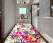 Customize the size of any three-dimensional high-definition romantic roses sea living room 3D floor tiles papel de parede 3d